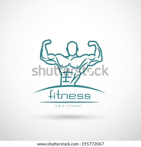 Fitness label with bodybuilder - vector illustration - stock vector