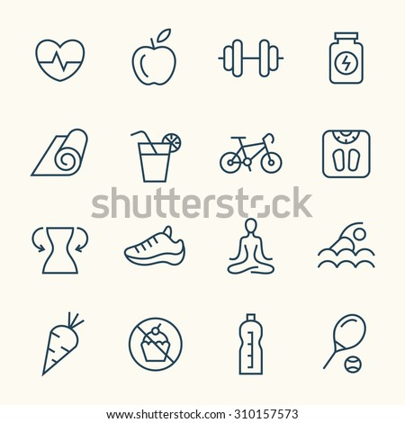 Fitness line icons - stock vector