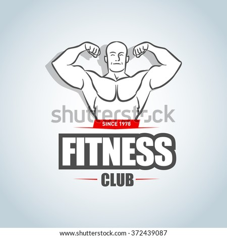 Fitness logo template. Gym club logotype. Sportsman silhouette character vector logo design template. Sport Fitness club creative concept. Bodybuilder Fitness Model Illustration, Sign, Symbol, badge. - stock vector