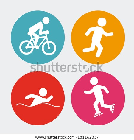 fitness pattern over white background vector illustration - stock vector