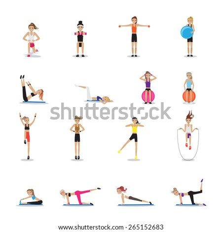 Fitness People Workouts Set - Isolated On White Background - Vector Illustration, Graphic Design Editable For Your Design - stock vector