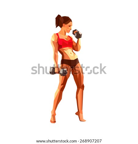 FITNESS. Polygonal female athlete, bodybuilder or personal trainer in a gym. Muscular woman.  - stock vector