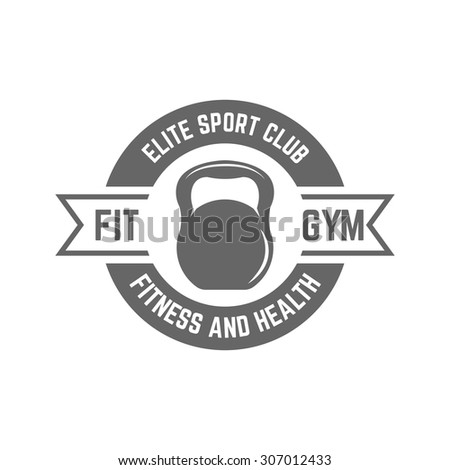 Fitness sport club isolated vector monochrome label on white background, silhouette of kettlebell in the circle - stock vector
