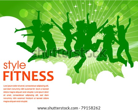 fitness style poster - stock vector