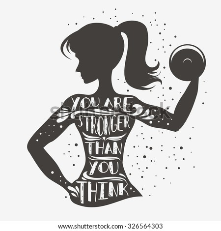 Fitness typographic poster. You are stronger than you think. Motivational and inspirational illustration. Lettering. For logo, T-shirt design, banner, stamp, poster, bodybuilding or fitness club. - stock vector