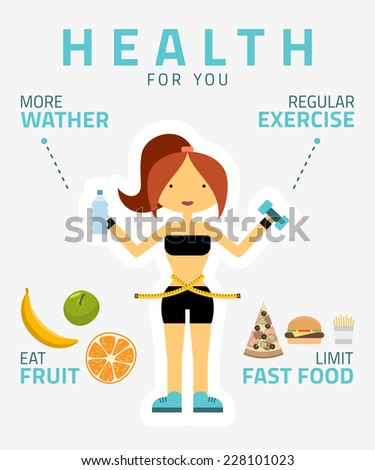 Fitness woman, sport equipment, caring figure and diet icons. Health food. Flat design vector illustration.  - stock vector