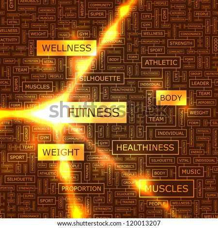 FITNESS. Word collage. Vector illustration. - stock vector