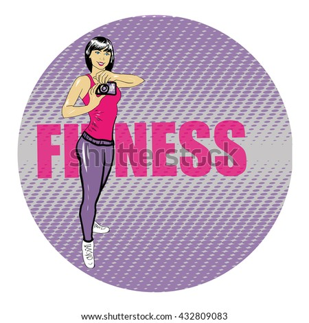 Fitness young girl with camera vector illustration in pop art retro comic style - stock vector