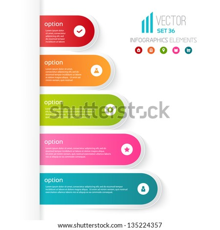 Five colored steps with different options and descriptions. White background - stock vector