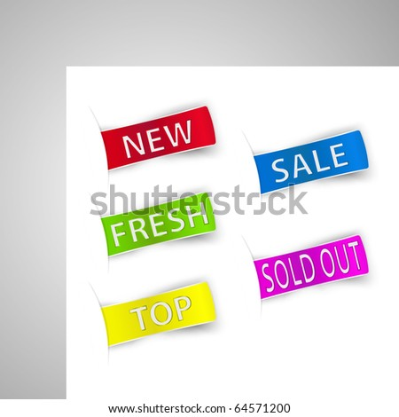Five colorful sale announcement tags. Vector. - stock vector