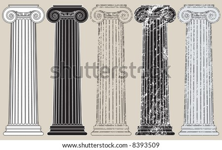 Five Columns, clean and grungy, for anything you may need to support - stock vector