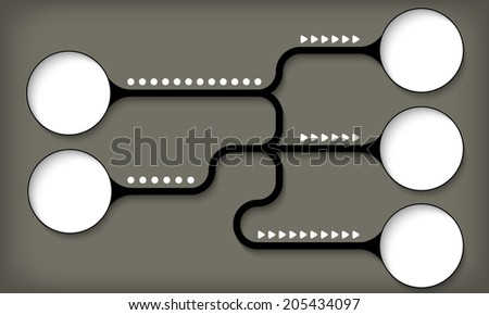 five connected boxes for entering text - stock vector