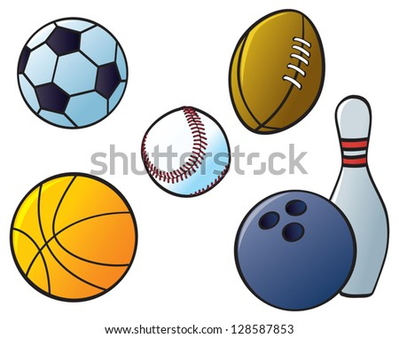 Five different sports balls from sports that are common in North America and Europe. - stock vector