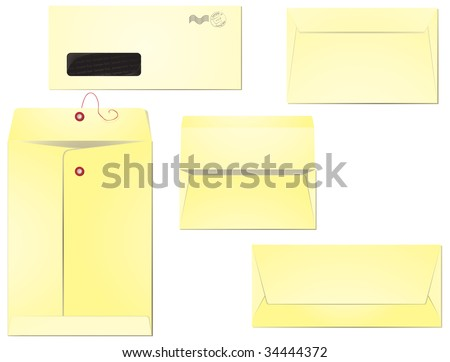Five different types of envelopes for business correspondence and mailing. Layers clearly organized so the editing is simplified. EPS 8, radial gradients used. - stock vector