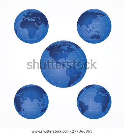 Five Earth globes - stock vector