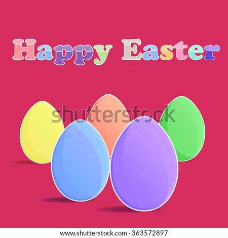 Five eggs and happy easter on the red backgrouund - stock vector