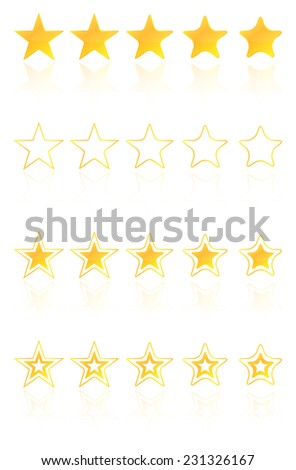 Five Golden Star Quality Award Icons With Reflection - stock vector