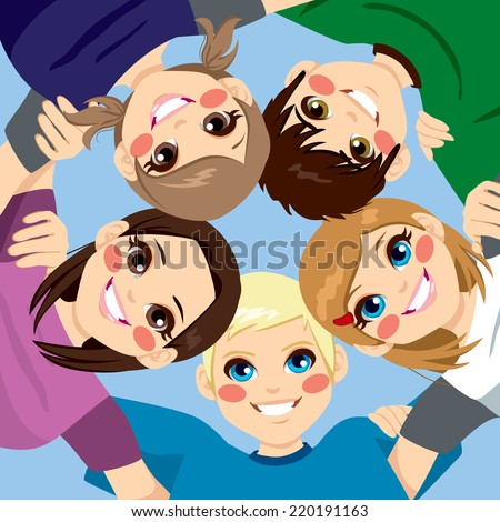 Five happy young smiling teenagers embracing together in circle from low angle view - stock vector