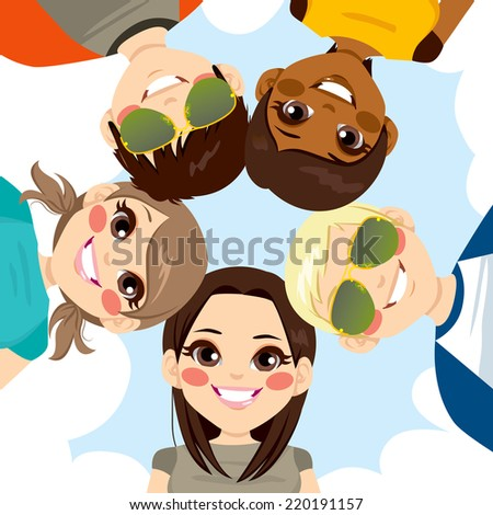 Five happy young smiling teenagers forming a circle together from low angle view - stock vector