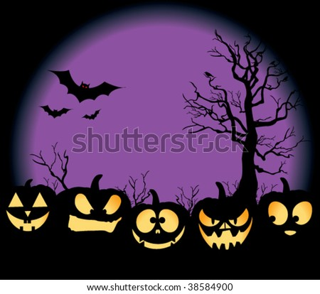 Five jack-o-lanterns sitting in a pumpkin patch, with bats, crows on a tree, and an evil purple moon rising. - stock vector