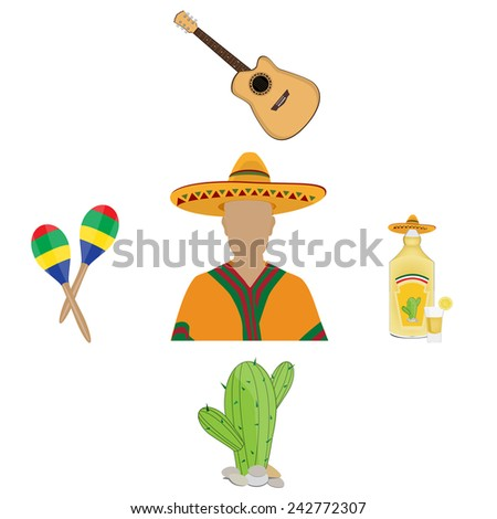 Five mexican icons vector isolated on white, mexican symbols, maracas, tequila, cactus, guitar, poncho, mexican hat - stock vector