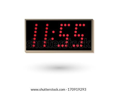 five minutes before twelve on digital clock - stock vector