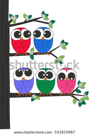 five owls sitting in a tree - stock vector