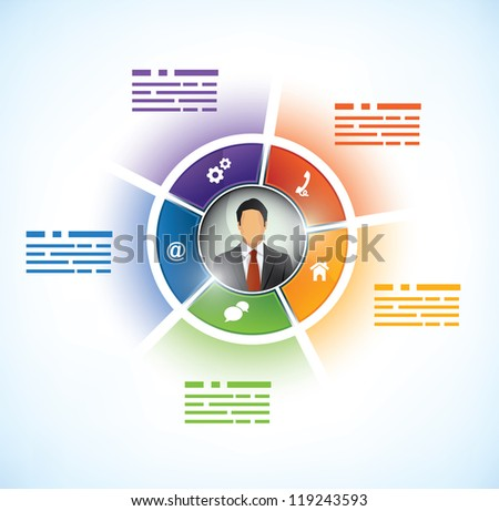 Five parts Presentation Template with a business persons avatar in the middle - stock vector