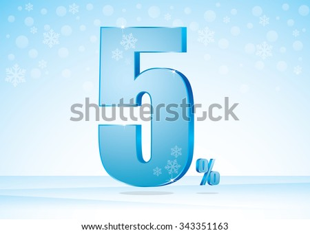 five percent on snow background  - stock vector