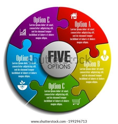 Five piece flat puzzle round infographic presentation. 5 step circle business diagram. Five section compare service banner. Vector illustration template shape . 3d Abstract Background - stock vector