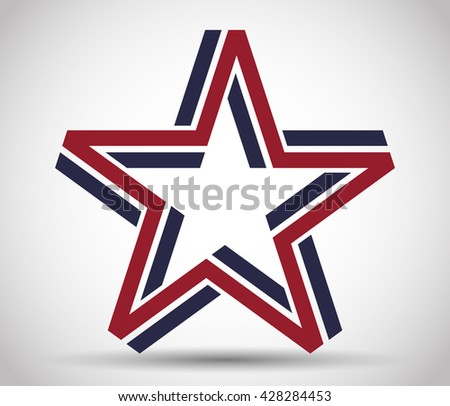 Five pointed star made from blue and red lines - stock vector