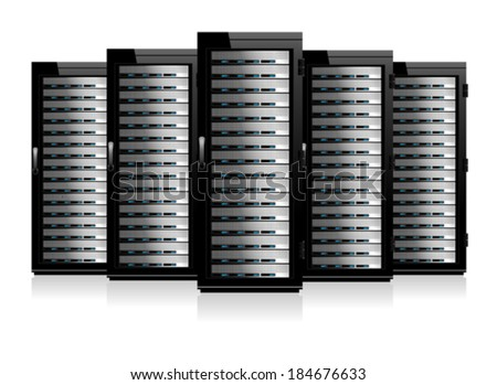 Five Servers - Information technology conceptual image - stock vector