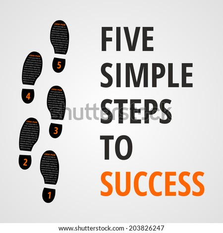 Five simple foot steps to success concept for layout, brochure,web design or presentation in vector. - stock vector