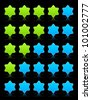 Five six-pointed stars ratings web 2.0 button. Blue and green shapes with shadow and reflection on black, 10eps. - stock vector
