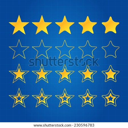 Five Star Quality Award Icons On Blueprint - stock vector