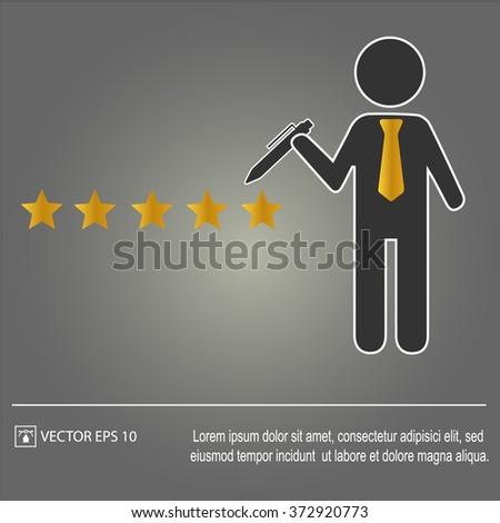 Five star rating. Businessman. Vector illustration EPS 10. - stock vector