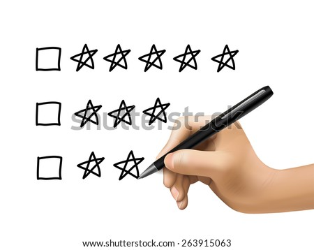 five star rating drawn by 3d hand over white background - stock vector
