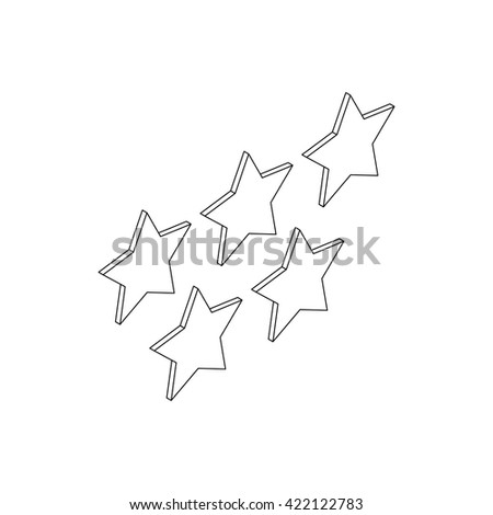 Five stars icon, isometric 3d style - stock vector