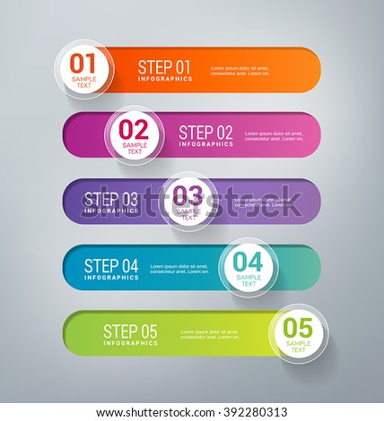 Five steps infographics - can illustrate a business strategy, workflow, brainstorming process, progress, success. - stock vector