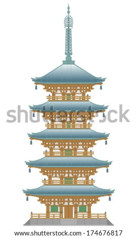 Five-storied pagoda - stock vector