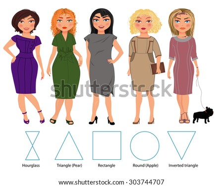 Five types of woman figures in business dresses: hourglass, triangle, re?tangle, round and inverted triangle, vector hand drawn illustration - stock vector