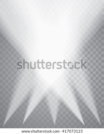 five vector transparent spotlights - stock vector