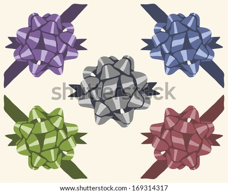 Five vintage colorful isolated gift bows - stock vector