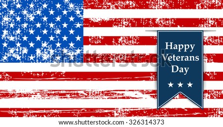 Flag America illustration to the day veterans Leyba - stock vector
