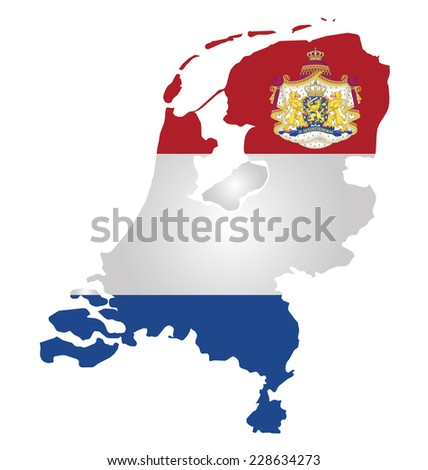 Flag and coat of arms of the Kingdom of the Netherlands overlaid on outline map isolated on white background  - stock vector