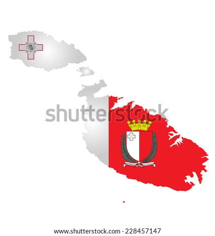 Flag and coat of arms of the Republic of Malta overlaid on outline map isolated on white background  - stock vector