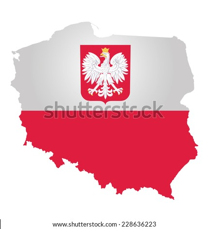 Flag and coat of arms of the Republic of Poland overlaid on outline map isolated on white background  - stock vector