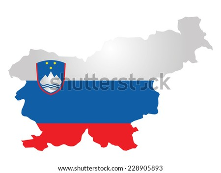 Flag and coat of arms of the Republic of Slovenia overlaid on outline map isolated on white background  - stock vector