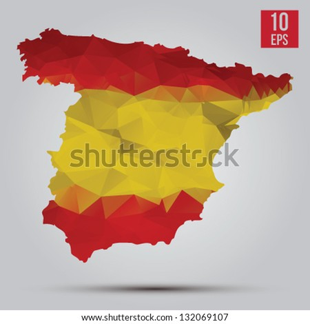 Flag and map of Spain - stock vector