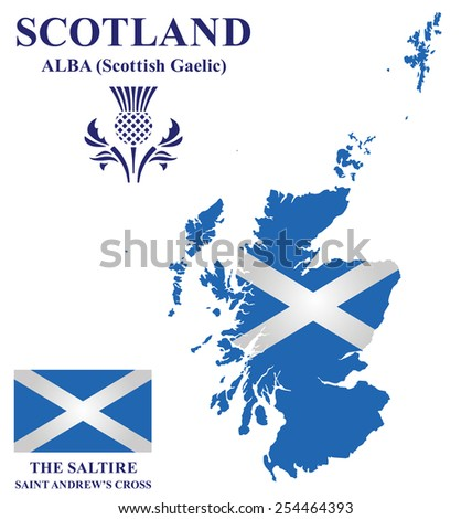 Flag and national emblem of Scotland overlaid on detailed outline map isolated on white background  - stock vector